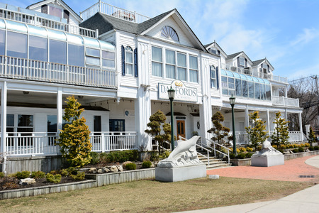 upscale: PORT JEFFERSON, NY - April 6, 2015: Danfords Hotel and Marina. On Long Island Sound estuary this upscale accommodation features a spa, seafood restaurant and marina.