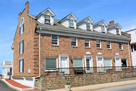 PORT JEFFERSON, NY - April 6, 2015: Danfords Hotel, Marina Showers and Fitness Rooms building. On Long Island Sound estuary this upscale accommodation also features a spa, seafood restaurant and marina.