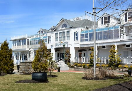 upscale: PORT JEFFERSON, NY - April 6, 2015: Danfords Hotel and Marina. The upscale accommodations on Long Island Sound estuary features a spa, seafood restaurant and marina.