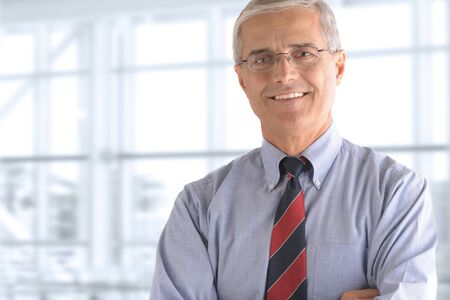 mature businessman: Portrait of a mature businessman standing in front of a large office window.  Stock Photo