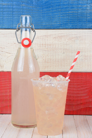 drinking straw: Closeup of a bottle of lemonade and a glass with drinking straw.