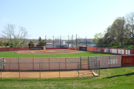 outfield: STONY BROOK, NY - MAY 4, 2015: Stony Brook University Softball Field. Home of the Seawolves, a NCAA Division 1 athletic program and a member of the America East Conference.