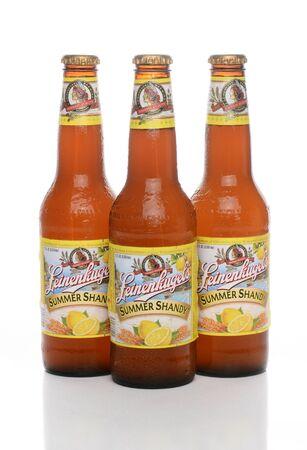 IRVINE, CA - JUNE 1, 2015: Three bottles of Leinenkugel Summer Shandy. Leinenkugel was founded in Chippewa Falls, WI, in 1867 by Jacob Leinenkugel.