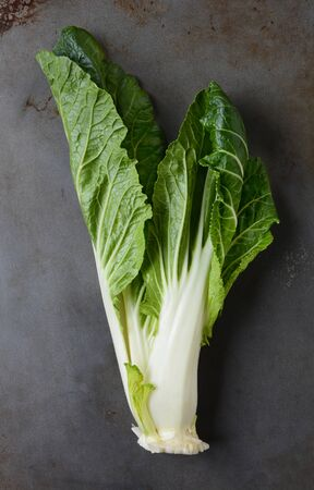 chinensis: Bok choy meaning white vegetable on a used metal baking sheet. Vertical format.