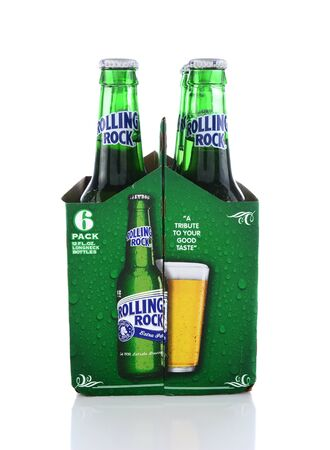 IRVINE, CA - JUNE 14, 2015: Rolling Rock Extra Pale Beer. End view of a six pack of the American beer founded in 1939 in Latrobe, Pennsylvania, by the Latrobe Brewing Co.