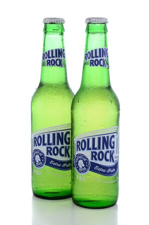 IRVINE, CA - JUNE 14, 2015: Rolling Rock Extra Pale Beer. Two bottles of the American beer founded in 1939 in Latrobe, Pennsylvania, by the Latrobe Brewing Co. Editorial