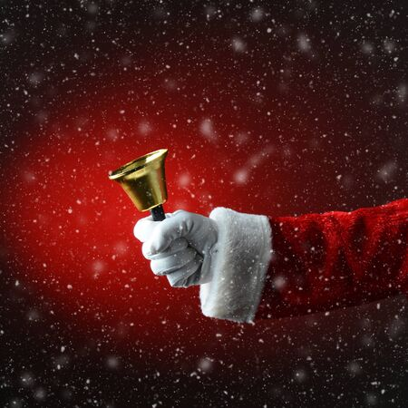 pealing: Santa Claus ringing a bell over a snowy light to dark red background.