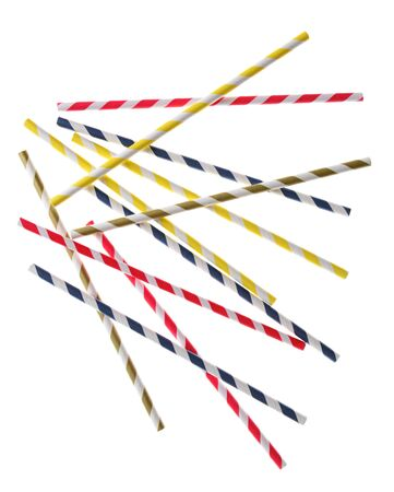 straws: Random striped drinking straws backlit on a white surface. Red, blue, yellow, and green striped paper straws are represented.