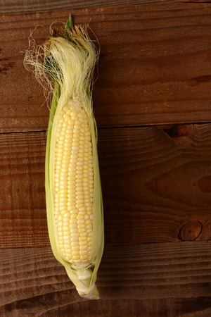 shucked: A single fresh picked and shucked ear of corn on the cob on a rustic wood table. The sweet corn is shot from a high angle in vertical format. Stock Photo