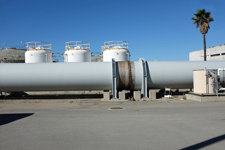 huntington beach: HUNTINGTON BEACH, CA - NOVEMBER 16, 2014: Pipeline at the Orange County Sanitation District plant 2 in Huntington Beach, CA.