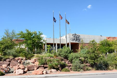 dept: ST. GEORGE, UTAH - AUGUST 15, 2015: St. George City Offices. The building houses the Council, Public Works, Housing Development Dept and other administrative services.