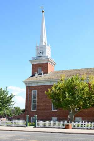 tabernacle: St. George Tabernacle in St. George, Utah was opened in 1876, with a dedication ceremony featuring Brigham Young, Jr. It was to serve as a public works building, hosting church services and court hearings. Stock Photo