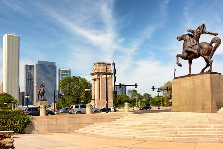 statue: CHICAGO, ILLINOIS - AUGUST 22, 2015: Equestrian Indians Congress Plaza, Grant Park. Created by Ivan Metrovic the statues were created to commemorate the tribes that once roamed Illinois.
