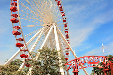 scheduled replacement: CHICAGO, ILLINOIS - AUGUST 22, 2015: Navy Pier Ferris Wheel. The current Ferris Wheel is slated for replacement with a modern and larger wheel, scheduled to open in 2016.