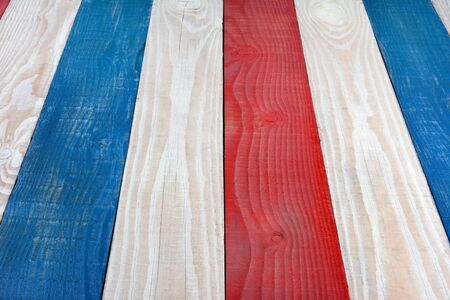 americana: Patriotic background for 4th of July or Memorial Day or any American Holiday themed projects. Red White and Blue Boards Background. Stock Photo