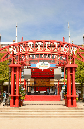 navy pier: CHICAGO, ILLINOIS - AUGUST 22, 2015: Navy Pier Beer Garden. Navy Pier is a 3,300-foot-long pier on the Chicago shoreline of Lake Michigan.