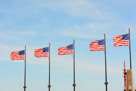navy pier: Five American Flags on Navy Pier, Chicago, Illinois.