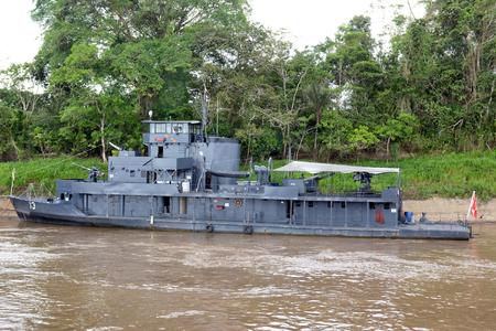 navy ship: IQUITOS, PERU - OCTOBER 11, 2015: Peru Navy Ship. A gun boat moored on the Itaya River, in the Peruvian Amazon.
