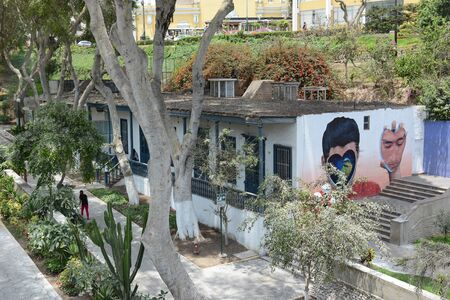 lima: BARRANCO, PERU - OCTOBER 18, 2015: Mural on wall in Barranco. The Barranco district of Lima is the home of many of Perus leading artists, musicians, designers and photographers.
