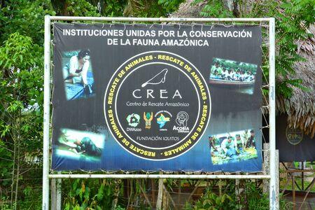 amazonia: IQUITOS, PERU - OCTOBER 17, 2015: CREA sign (Center Rescue Amazonia). The rescues center is dedicated to preserving Amazon Wildlife especially Manatees.