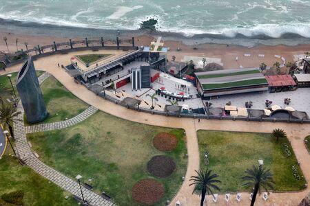 MIRAFLORES, PERU - OCTOBER 18, 2015:  Alfredo Salazar Park, Outdoor Mall and Miraflores Beach. The Miraflores District is an upscale area of Lima Peru.