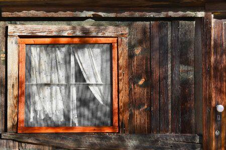 old doors: JOSHUA TREE, CALIFORNIA - JANUARY 1, 2016: Window at Keys Ranch. In Joshua Tree National Park the ranch was built by homesteader Bill Keys.