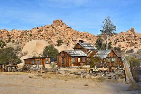 ranch house: JOSHUA TREE, CALIFORNIA - JANUARY 1, 2016: Keys Ranch in Joshua Tree National Park. Shows house, store, Jeep, and objects saved by homesteader Bill Keys.