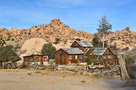 joshua: JOSHUA TREE, CALIFORNIA - JANUARY 1, 2016: Keys Ranch in Joshua Tree National Park. Shows house, store, Jeep, and objects saved by homesteader Bill Keys.