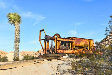 joshua tree national park: JOSHUA TREE, CALIFORNIA - JANUARY 1, 2016: Rusted Equipment at Keys Ranch. In Joshua Tree National Park, built by homesteader Bill Keys.