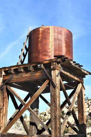 abandoned: JOSHUA TREE, CALIFORNIA - JANUARY 1, 2016: Water Tower at Keys Ranch. The abandoned Ranch is in Joshua Tree National Park, visited only by ranger led tours.