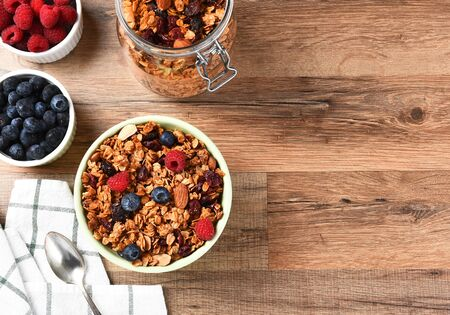 cereal bowl: A bowl of Granola cereal with fresh fruit. Horizontal with copy space.