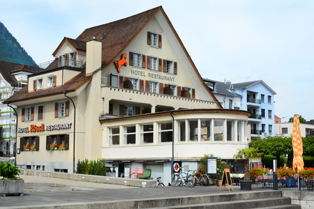 accommodations: BECKENRIED, SWITZERLAND - JULY 4, 2014: Hotel Roessli. The hotel is located on the shores of Lake Lucern.