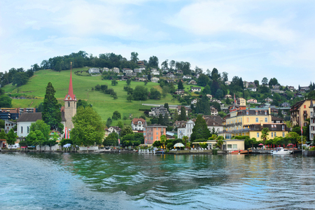 WEGGIS, SWITZERLAND - JULY 4, 2014: The Beau Rivage Hotel. A four star hotle in the town of Weggis on the shores of Lake Lucerne. Redakční