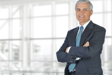 businessman suit: Portrait of smiling senior businessman standing against office window background while looking at camera. Stock Photo