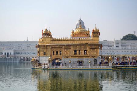 AMRITSAR, INDIA - 30 OCTOBER 2015: Golden Temple (Harmandir Sahib) in Amritsar, Punjab, India, the holiest Sikh gurdwara in the world. Editorial