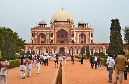 new delhi: NEW DELHI, INDIA - OCTOBER 27, 2015: Humayuns Tomb. Tourist gather at the one of the most famous Mughal buildings in New Delhi. Editorial