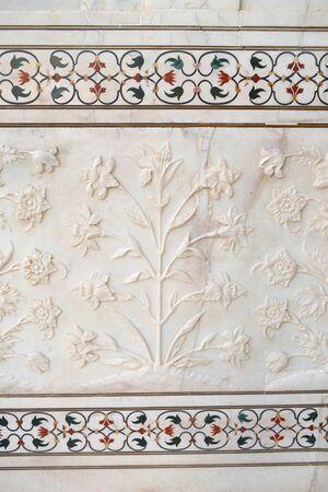 Wall detail of the Taj Mahal, in Agra. India.