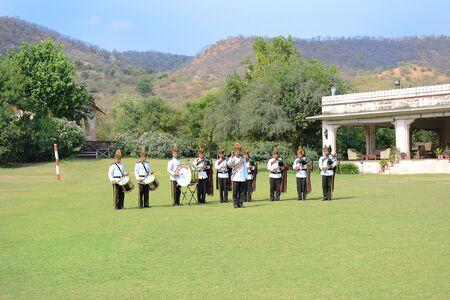 dera: JAIPUR, INDIA - NOVEMBER 13, 2015: Band on the Green. At Dera Amer Elephant Safari a military band performs for visitors.