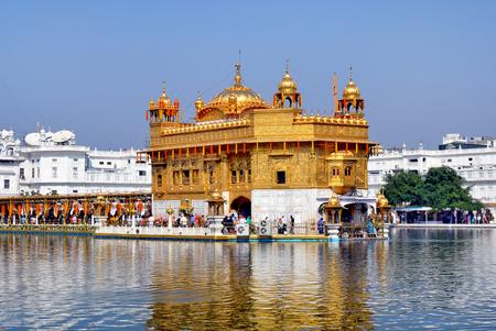 gurdwara: AMRITSAR, INDIA - 30 OCTOBER 2015: Golden Temple (Harmandir Sahib) in Amritsar, Punjab, India, the holiest Sikh gurdwara in the world. Editorial