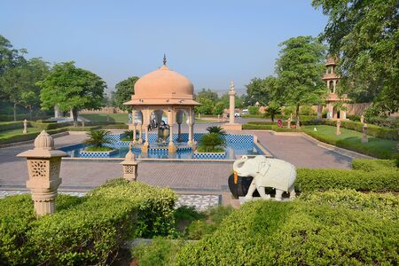 acres: JAIPUR, INDIA - NOVEMBER 2, 2015: The Oberoi Rajvilas grounds. The resort is set on 32 acres of beautifully landscaped gardens. Editorial