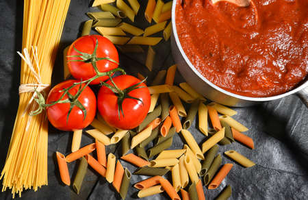horizontal format: Ingredients for an Italian style meal on slate. Horizontal format. Stock Photo