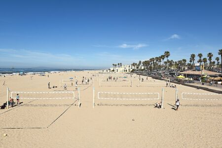 huntington beach: HUNTINGTON BEACH, CA - MARCH 25, 2015: Sand Volleyball Courts. The courts are seen on a sunny Spring day. Editorial