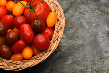 medley: Top view of a basket filled with a variety of medley tomatoes. Horizontal format with copy space.