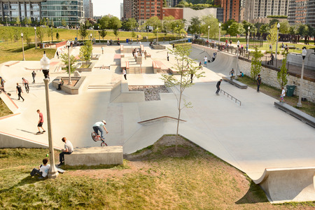 ave: CHICAGO, ILLINOIS - AUGUST 22, 2015: Grant Park Skate Park. The park was opened in 2014 in the South Loop between E. 11th St and S. Michigan Ave. Editorial