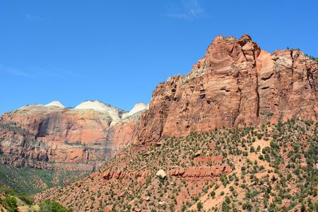 horizontal format: Zion National Park scenic in horizontal format with blue sky.