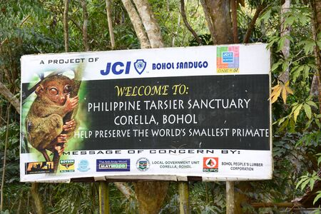 smallest: CORELLA, BOHOL, PHILIPPINES - APRIL 5, 2016:  Tarsier Sanctuary Sign. Tarsiers are the worlds smallest primates.