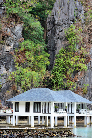 bungalow: EL NIDO, LAGEN ISLAND, PHILIPPINES - APRIL 5, 2016:  Water Bungalow at the Lagen Island Resort. The Eco-Sanctuary in situated in Bacuit Bay in Palawan. Editorial