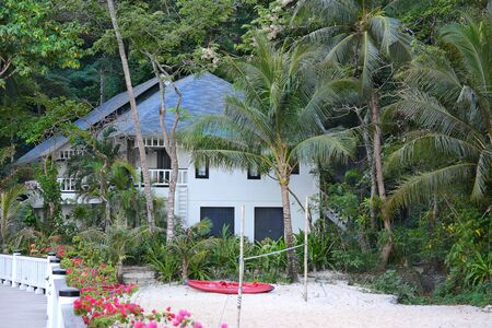 EL NIDO, LAGEN ISLAND, PHILIPPINES - APRIL 5, 2016:  Bungalow at the Lagen Island Resort. The eco-sanctuary is in Bacuit Bay. Redakční