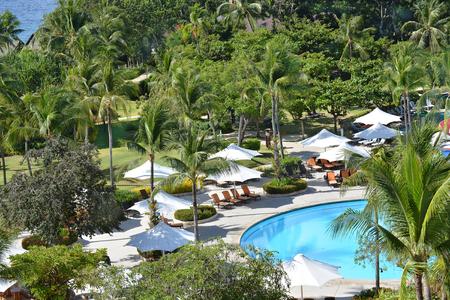 CEBU, PHILIPPINES - APRIL 5, 2016: Shangri-La Mactan Resort and Spa grounds. The luxury resort  features a marine sanctuary.