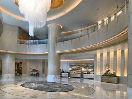 luxuries: MANILA, PHILIPPINES - APRIL 2, 2016: Shangri-La at the Fort Lobby. The luxury hotel and mixed use building is one of the tallest structures in Manila. Editorial